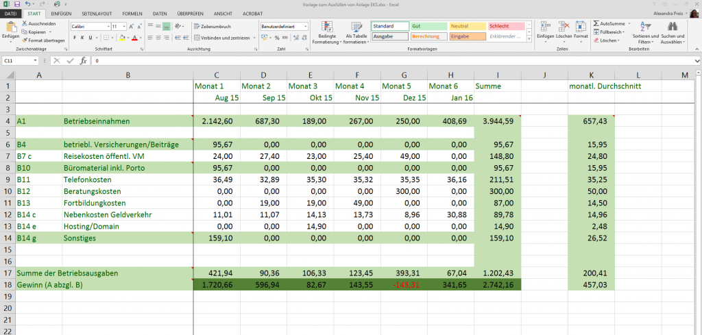 Excel-Tabelle zur Anlage EKS