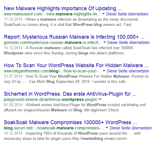 Google-Ergebnisse für WordPress Malware