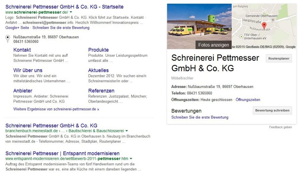 Screenshot Google Schreinerei Pettmesser