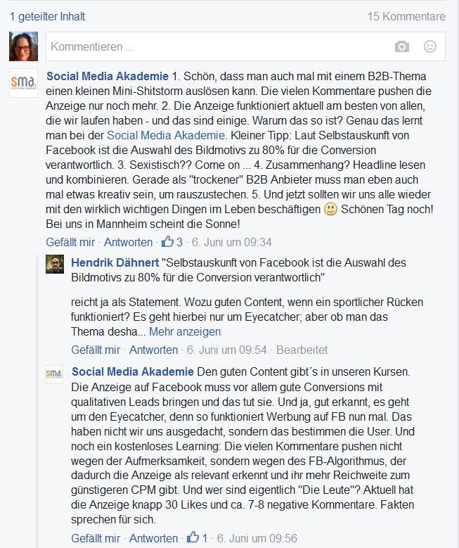 Screenshot der Kommentare zum Post der Social Media Akademie, die Akademie versucht sich zu rechtfertigen