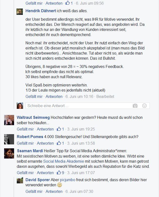 Screenshot der Kommentare zum Post der Social Media Akademie, Kritik an der Anzeige und der Bildauswahl